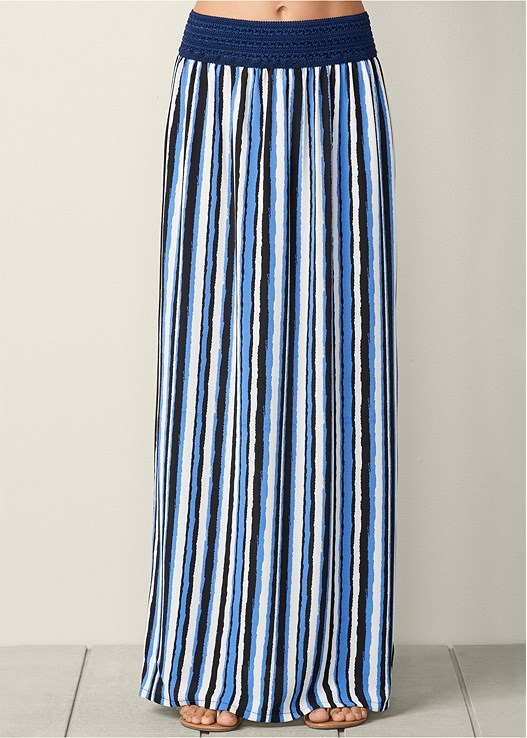 STRIPED MAXI SKIRT,RUFFLE COLD SHOULDER TOP
