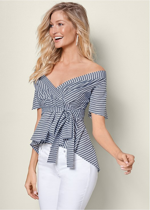 BELTED STRIPE SURPLICE TOP,COLOR SKINNY JEANS,RAFFIA DETAIL HEEL,BALL DROP EARRINGS