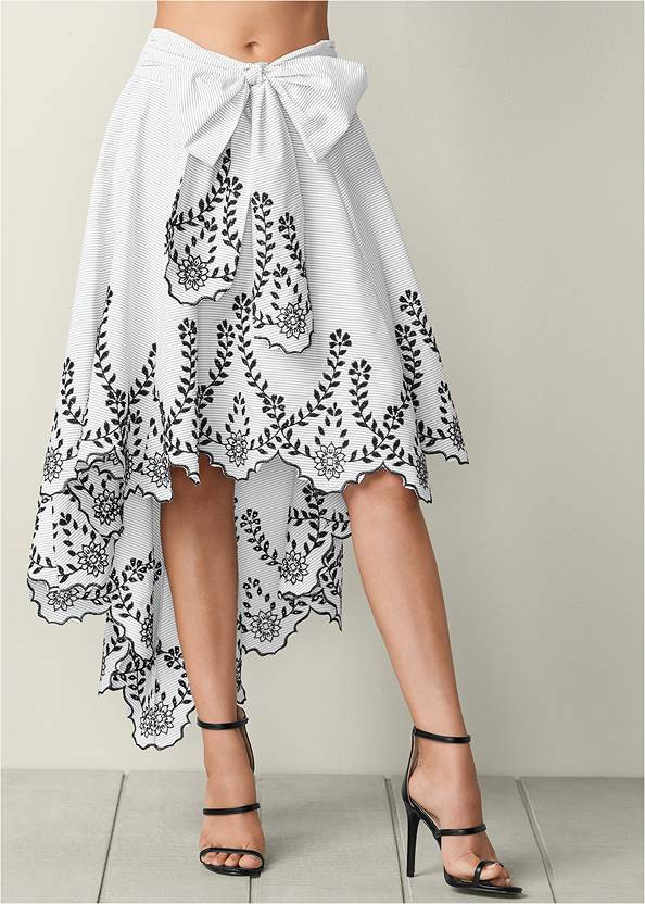 Front view Bow Front Embroidered Skirt