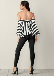 Back view Stripe Bell Sleeve Top