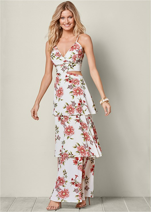 CUT OUT FLORAL MAXI DRESS,HIGH HEEL STRAPPY SANDALS
