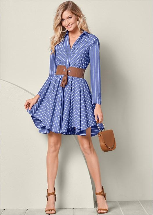 BELTED SHIRT DRESS,RAFFIA DETAIL HEELS,CIRCLE DETAIL HANDBAG,CONTRAST LACE EVERYDAY BRA