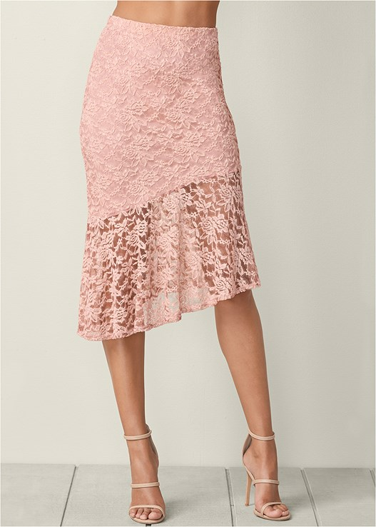 LACE MIDI SKIRT,LACE INSET SLEEVELESS TOP,HIGH HEEL STRAPPY SANDAL