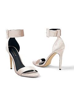 velvet buckle heel
