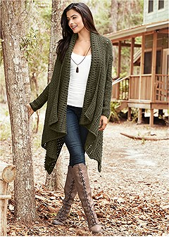 open knit cardigan