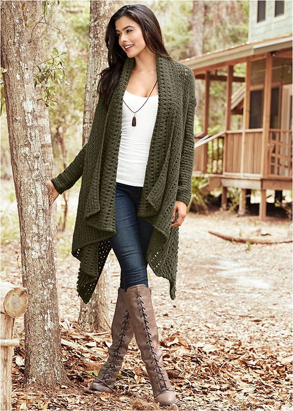 Open Knit Cardigan,Mid Rise Color Skinny Jeans,Lace Up Tall Boots,Buckle Knee High Boots,Long Chain Pendant Necklace