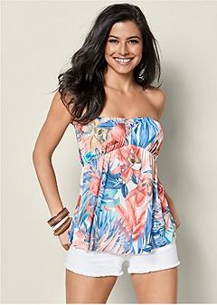 tropical print babydoll top