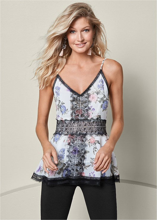 PRINTED LACE DETAIL TOP