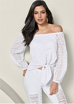 eyelet off the shoulder top