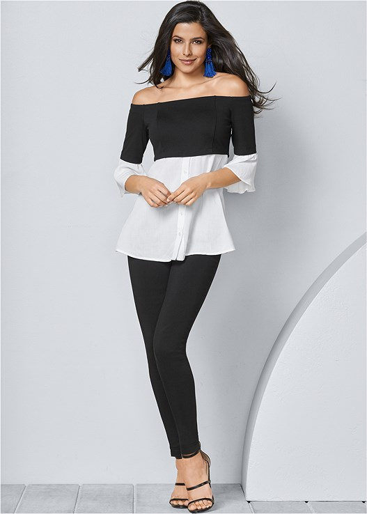 SLIMMING STRETCH JEGGINGS,MIXED MEDIA BUTTON UP TOP,HIGH HEEL STRAPPY SANDALS,TASSEL EARRINGS