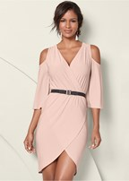 cold shoulder belted dress