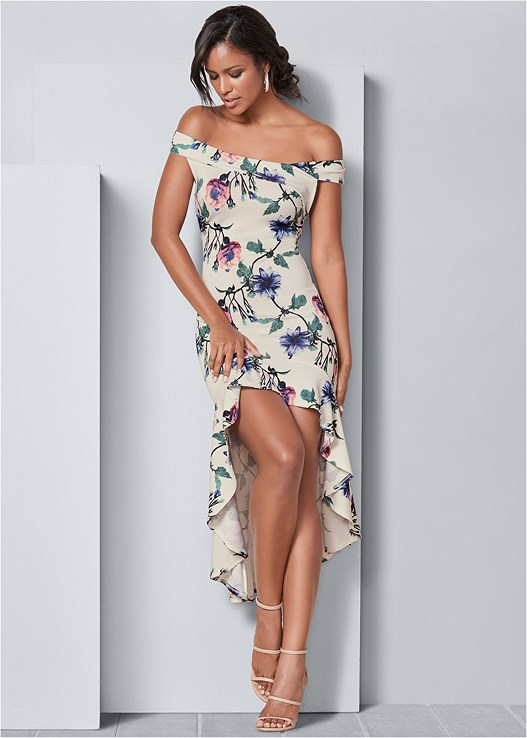 PRINTED HIGH LOW DRESS,HIGH HEEL STRAPPY SANDAL,CUPID BACKLESS LACE UP BRA