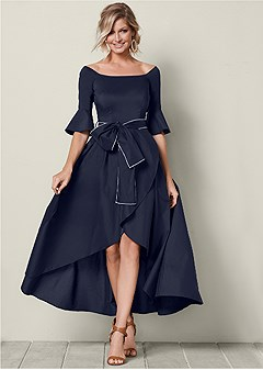 bow detail high low dress