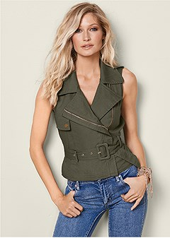 zip front belted top