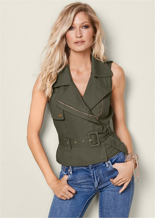ZIP FRONT BELTED TOP,COLOR SKINNY JEANS