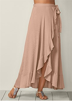 ruffle detail wrap skirt
