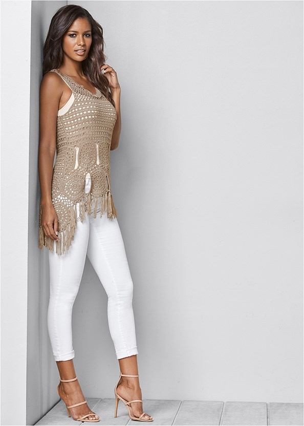 Crochet Fringe Sweater,Mid Rise Color Skinny Jeans,High Heel Strappy Sandals