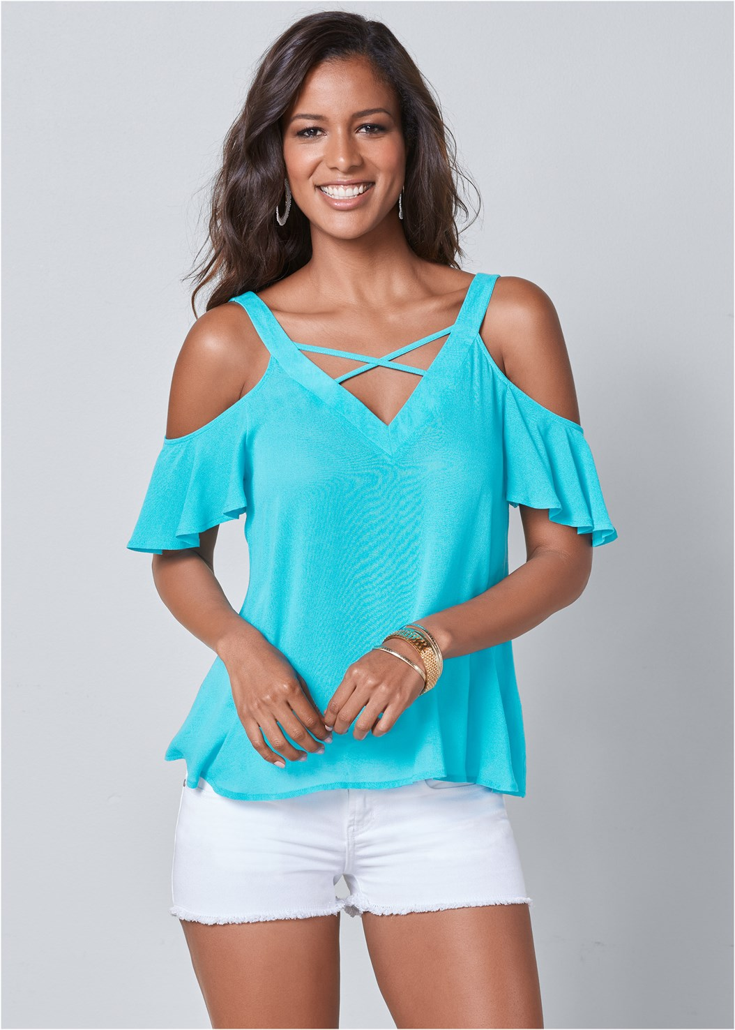 Strappy Detail V-Neck Top,Frayed Cut Off Jean Shorts