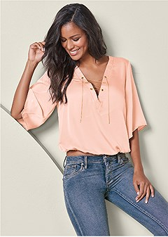 chain lace up v-neck blouse