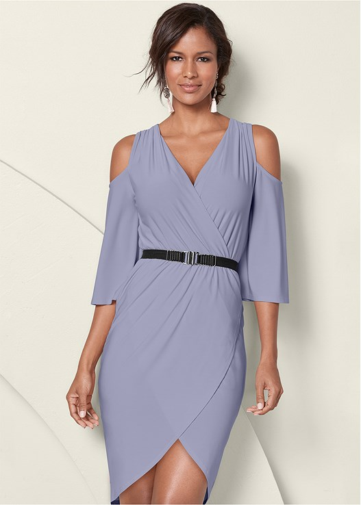 COLD SHOULDER BELTED DRESS,HIGH HEEL STRAPPY SANDAL,CIRCLE DETAIL CROSSBODY