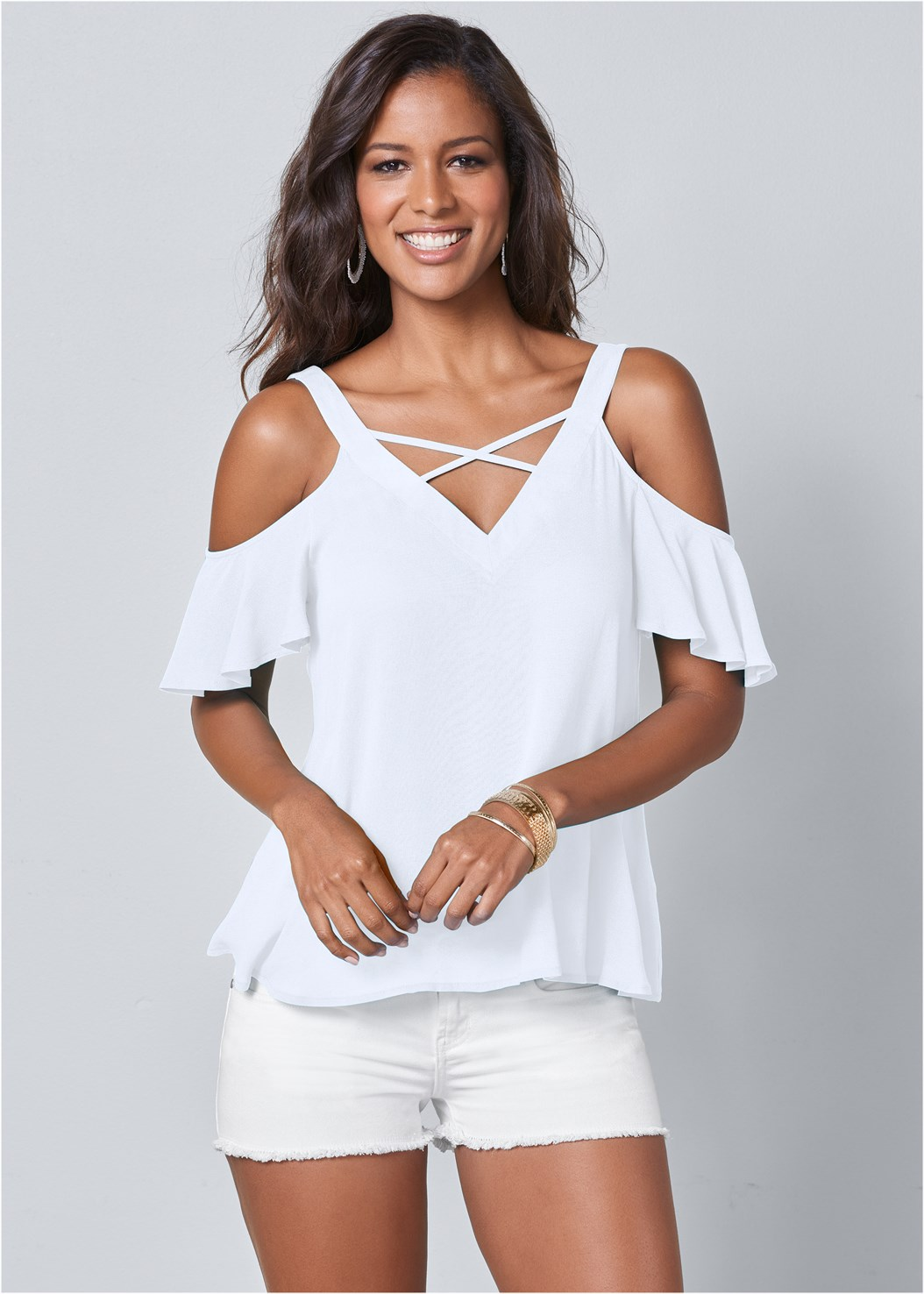 Strappy Detail V-Neck Top,Cut Off Jean Shorts