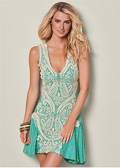 ribbed lace detail dress