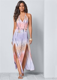 Front View Tie Dye Maxi Dress