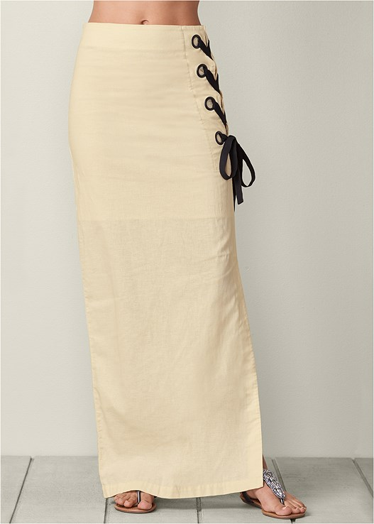 LACE UP LINEN MAXI SKIRT