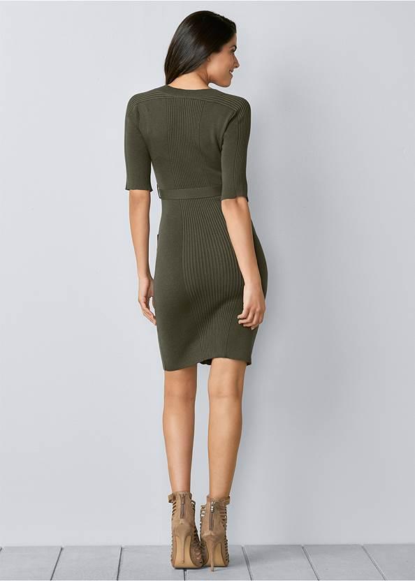 Back view Zipper Detail Sweater Dress