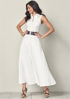 belted maxi skirt dress