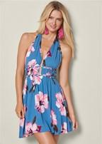 plunging floral print dress