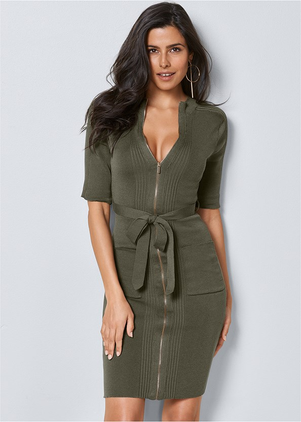 Zipper Detail Sweater Dress,Push Up Bra Buy 2 For $40