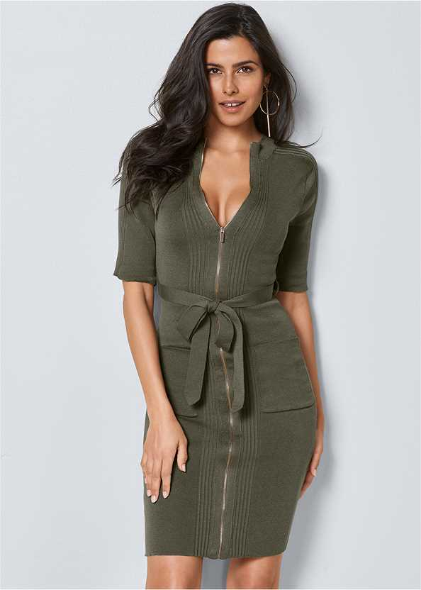 Zipper Detail Sweater Dress,Push Up Bra Buy 2 For $40