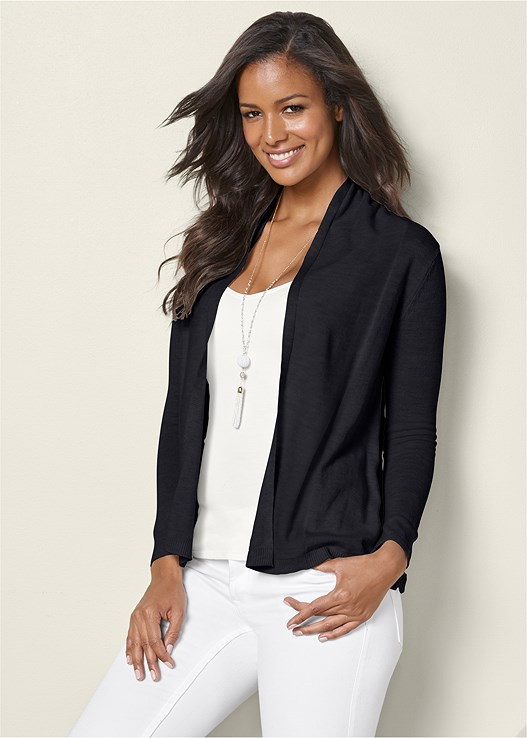 LACE DETAIL CARDIGAN,DEEP CUFF JEANS,BRAIDED DETAIL WEDGES