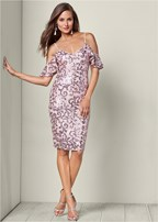 cold shoulder sequin dress