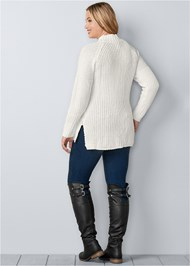 Back View Mock Neck Ribbed Sweater