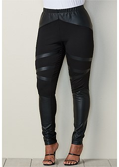 plus size pleather insert leggings