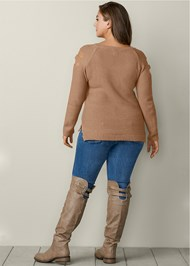 Back View Cut Out Sleeve Sweater