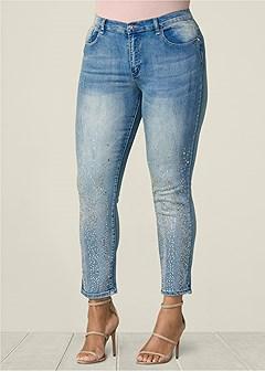 plus size embellished skinny jeans