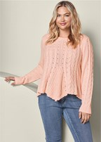 plus size cabled lace up sweater