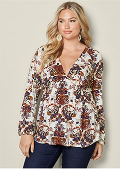 plus size v-neck bishop sleeve top