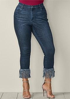 plus size frayed hem jeans