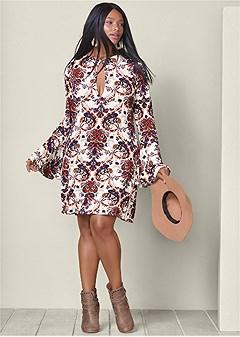 plus size paisley boho dress