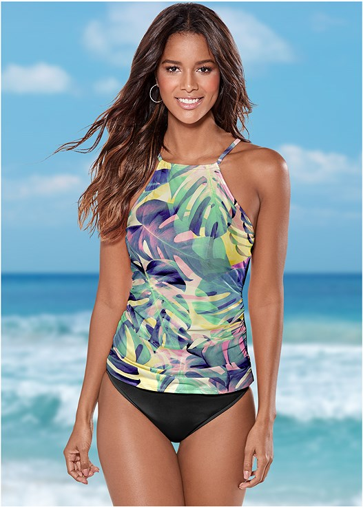 RUCHED SIDE HALTER TANKINI,HIGH WAIST MODERATE BOTTOM