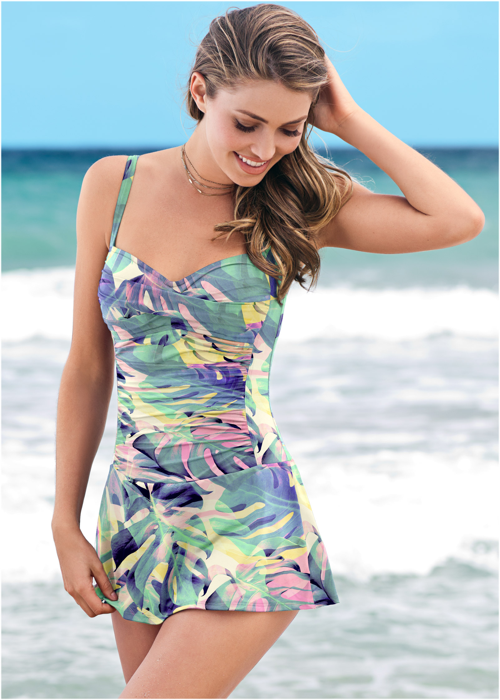 One Piece Swimsuit With Skirt