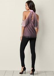 Back View Ombre Glitter Ruffle Top