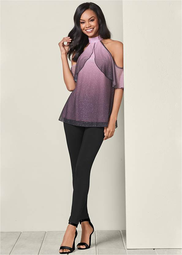 Front View Ombre Glitter Ruffle Top