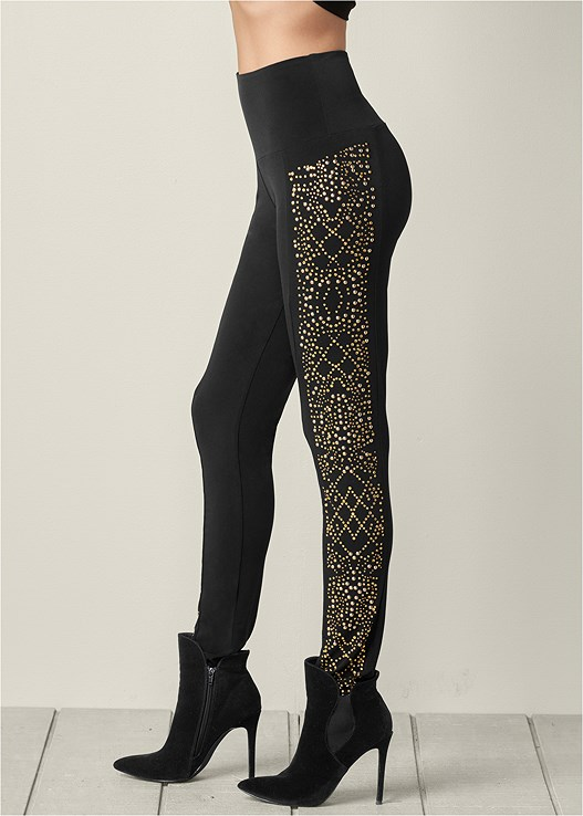 EMBELLISHED LEGGINGS,FAUX SUEDE POINTY BOOTIE