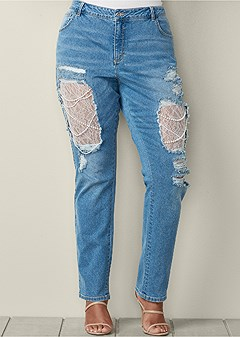 plus size lace and pearl ripped jeans