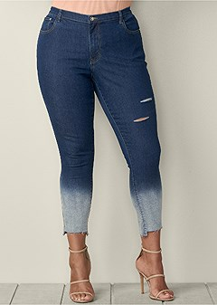 plus size ombre ripped jeans